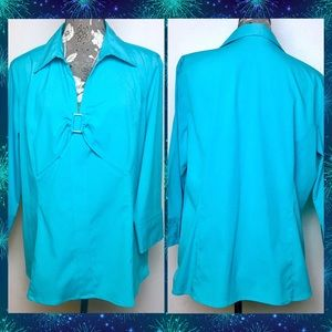 Women's Style & Co Stretch Turquoise Top Sz 18